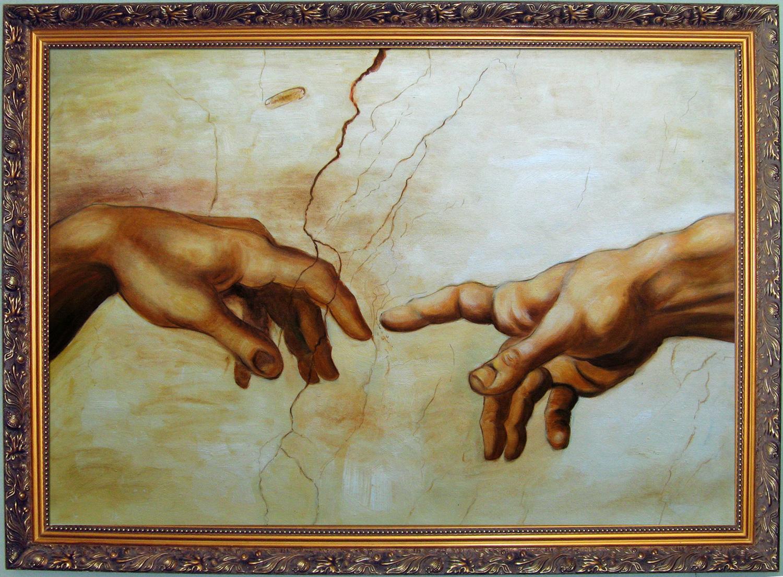 God Touching Adam S Finger Painting